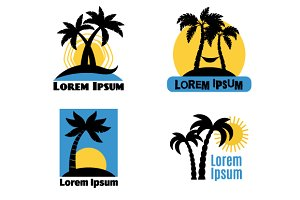 Palm tree logo set