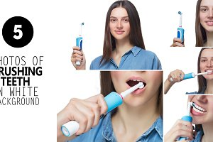5 Hi Res brushing teeth photos.