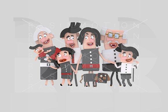 3d illustration. Big family.