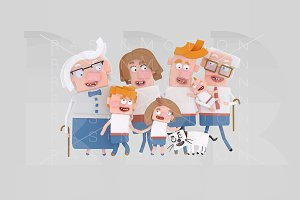 3d illustration. Big Family.