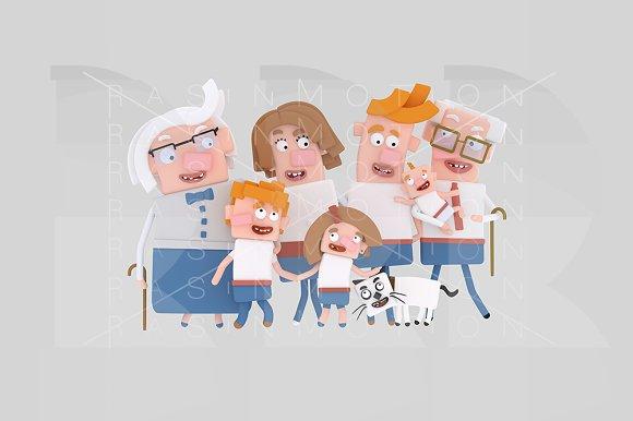 3d illustration. Big Family. - Illustrations
