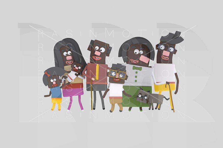 3d illustration. Black family.