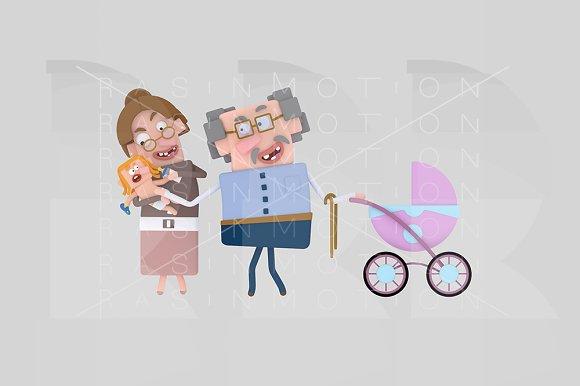 3d illustration. Grandparents.