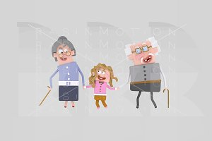 3d illustration. Grandparents.