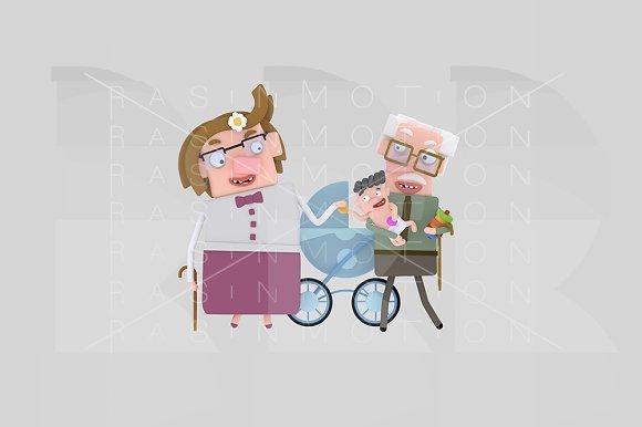 3d illustration. Grandparents. - Illustrations