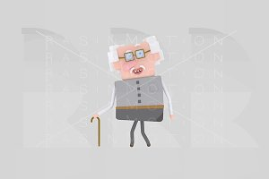 3d illustration. Grandfather.