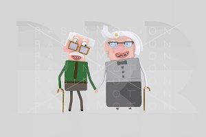 3d illustration. Old couple.