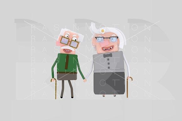 3d illustration. Old couple. - Illustrations