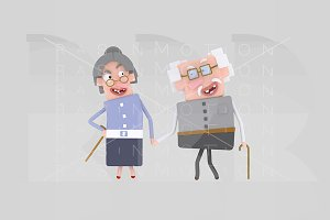 3d illustration. Old couple.
