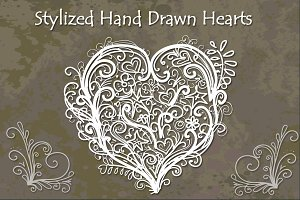 Stylized Hand Drawn Hearts