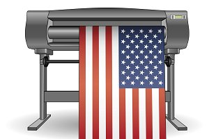 Plotter printing USA flag