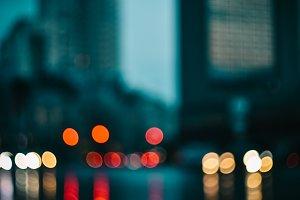 Blurred evening city car lights