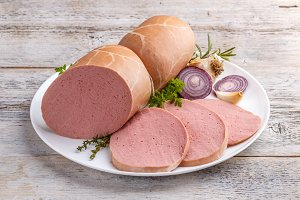 Sliced boiled ham sausage