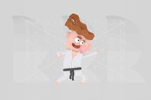 3d illustration. Karate Kid.