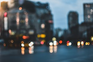 Blurred evening city street