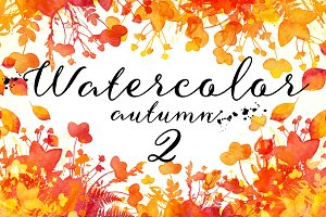 15 Watercolor autumn elements