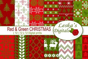 Red and Green Christmas Patterns