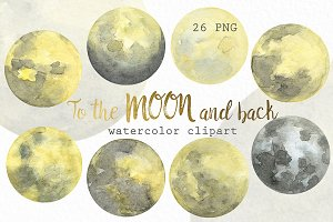 Watercolor Moon Phases.
