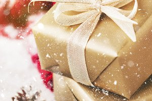 Christmas presents with decorations
