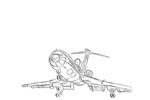 airplane, sketch style, vector
