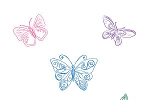 set of butterflies, sketch style