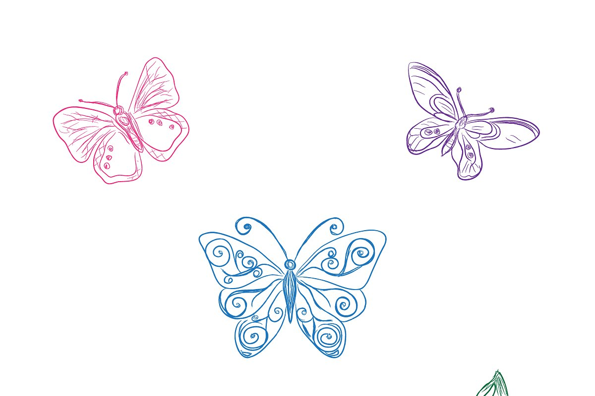 Save set of butterflies sketch style