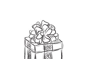 gift box, sketch style, vector