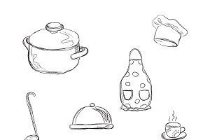 kitchen tools, sketch style
