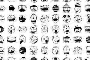 Monster People Animals Faces Set