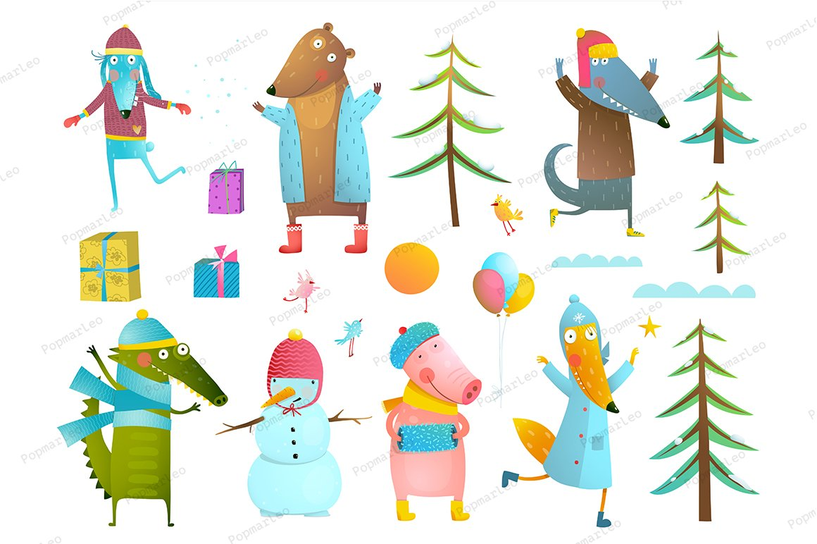 Winter Holiday Animals Clip Art
