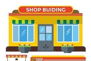 Shop buildings vector