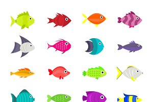Cute fish vector set