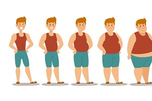 Fat man different stages vector