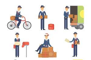 Postman delivery man vector