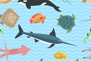Vector sea animals seamless pattern