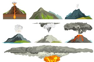 Volcano magma nature vector