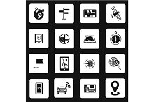 Navigation icons set, simple style