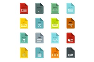 File format icons set, flat style