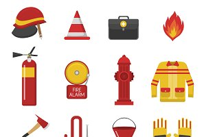 Fire safety equipment vector