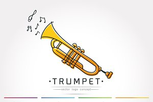 stylized trumpet logo vector