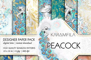 Peacock Feathers Seamless Patterns