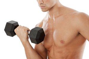 Man doing biceps curl