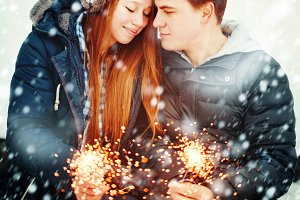 Couple with Holiday Sparklers