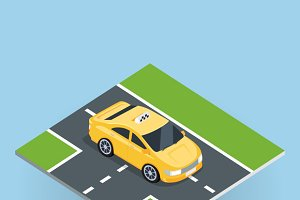 Isometric Yellow Taxi Cab
