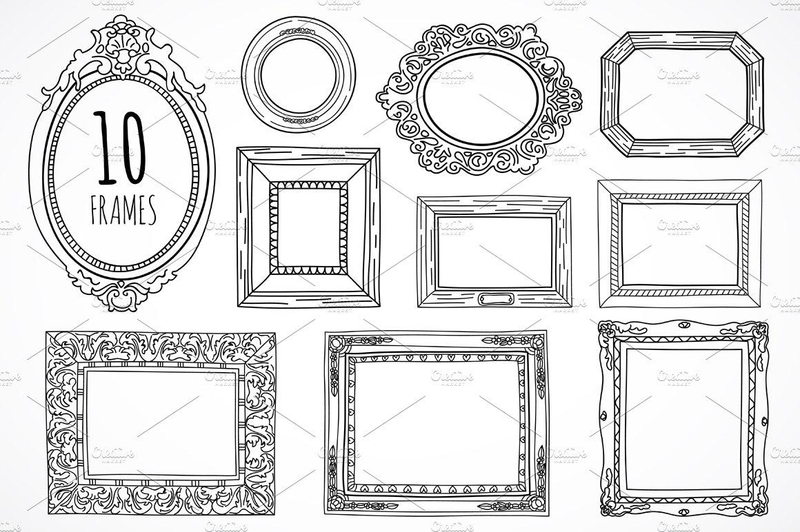 10 hand drawn frames ~ Illustrations ~ Creative Market