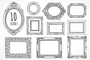 10 hand drawn frames