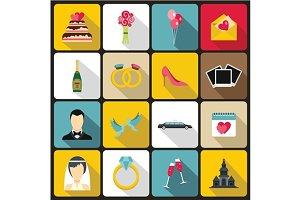 Wedding icons set, flat style