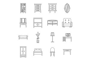 Furniture icons set, outline style