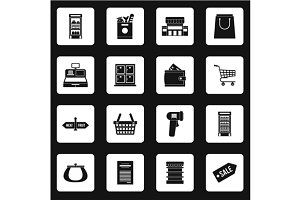 Supermarket icons icons set