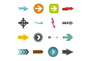 Arrow icons set, flat style
